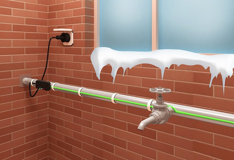Pipe Freeze Protection Cable is on the water pipe