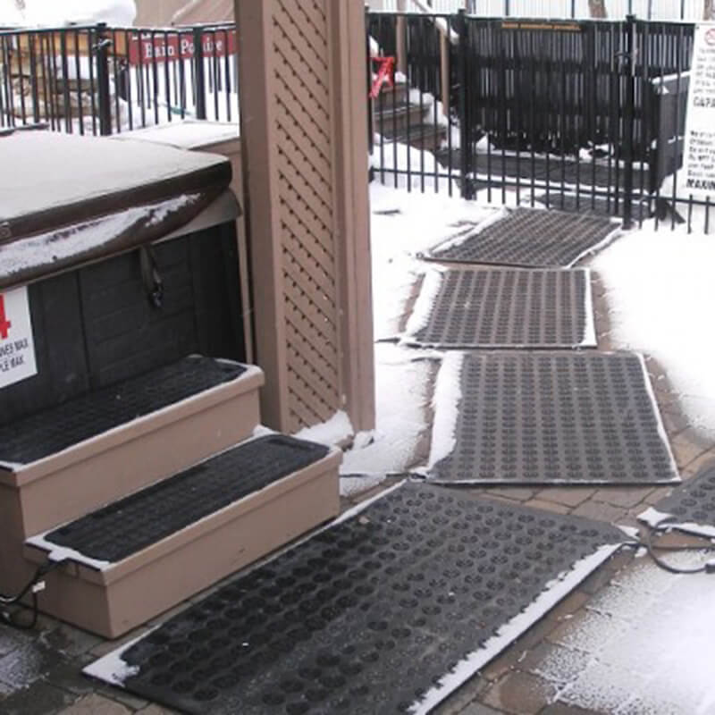 Snow Heating Mats are on the stairs and walkway