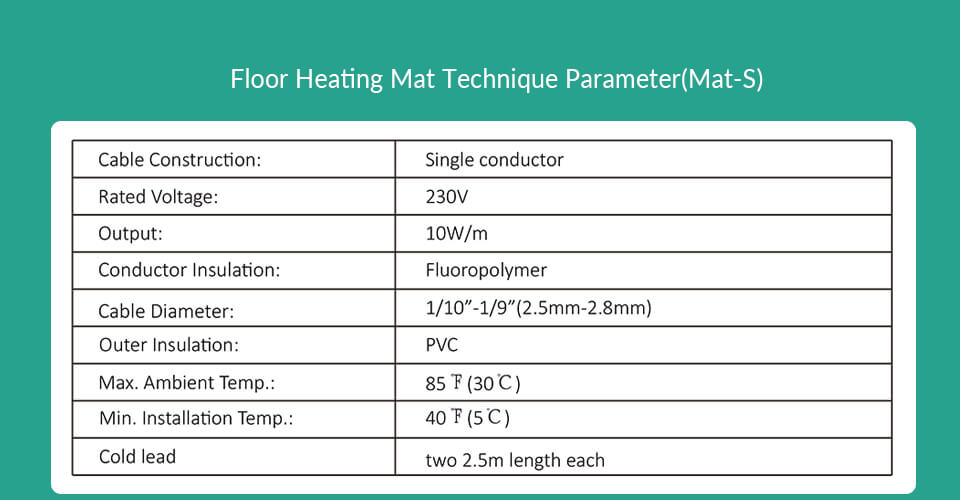 Technique Parameter of floor heating Mat